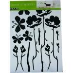 Stenska nalepka Moderne rože črne