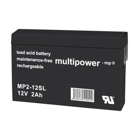 Multipower MP2-12SL 12V 2Ah 4.8mm faston
